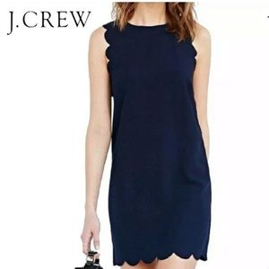 J.CREW Navy Blue Scalloped Dress